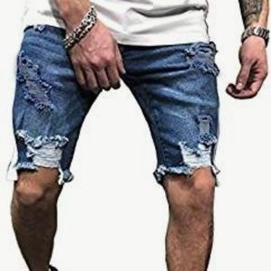 Medium Wash Cut-off Distressed Shorts